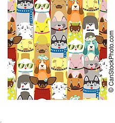 Print Colored differents cute dogs with acessories. Pattern