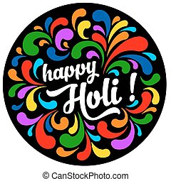Print - Colorful festive Holi splash abstract background...