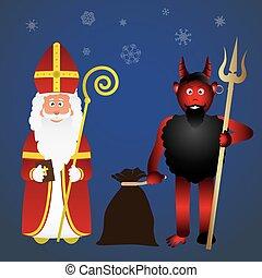 Print - colorful vector saint Nicolas character holiday...