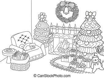 Coloring book, Coloring page of zentangle stylized Christmas tree, fireplace, armchair for Santa clause, Christmas wreath and presents. Vector illustration