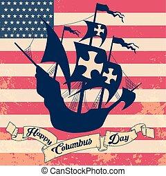 Print - columbus day. old schooner. Santa Maria.