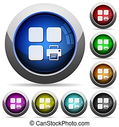 Print component round glossy buttons