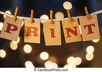 Print Concept Clipped Cards and Lights - The word PRINT...