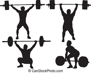 Print - Weight Lifting Silhouette on white background