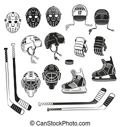 Print - Hockey objects as silhouettes. Hockey helmet, goalie...