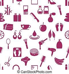 Print - beauty theme big set of various icons seamless...