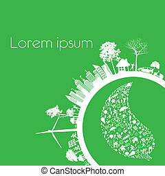 Print - Green modern city living concept. and ECO concept
