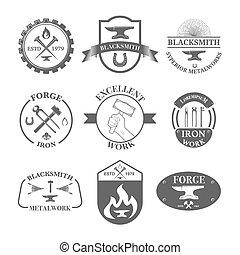 Print - Set of vintage blacksmith labels, badges, emblems...