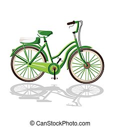 Print - illustration.Fitness and sports with bicycle.