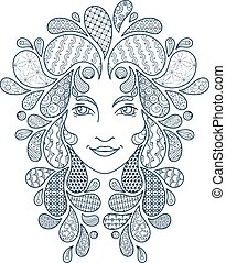Print for the coloring book. Portrait of a beautiful girl with zentangle locks. Coloring page. Patterned hair.