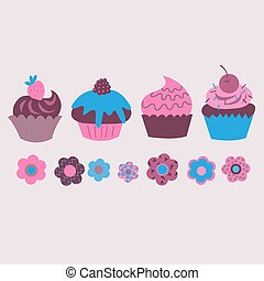 Print from cute decorative cupcakes with flowers