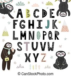 Print Funny alphabet with cute sloths. Abc for children