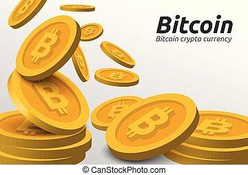 Print - Golden Bitcoin symbols background. Blockchain...