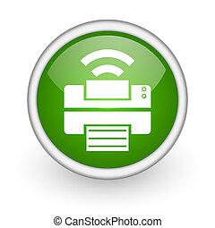 print green circle glossy web icon on white background
