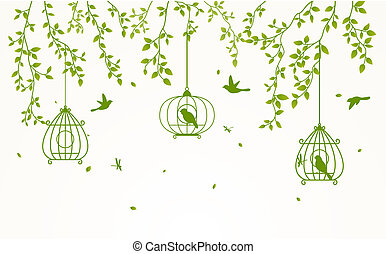 illustration of Green leaves background with birdcage