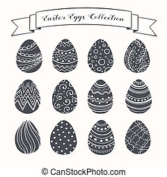 Print - Hand drawn Easter eggs collection. Doodle eggs with ...