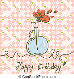Print - Happy birthday card with flowers and plaid pattern
