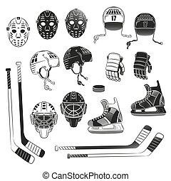 Print - Hockey objects as silhouettes. Hockey helmet, goalie...