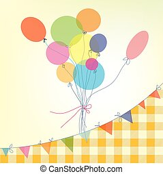 Print - Holiday background with balloons, bunting flags and...