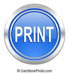print icon, blue button