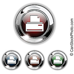 Print icon, button, vector illustra