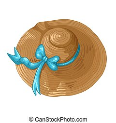Print Illustration of a brown hat with a blue ribbon