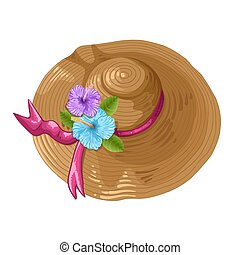 Print Illustration of a brown hat with ribbon