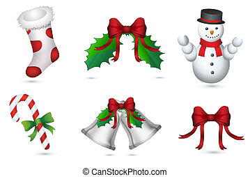 illustration of different christmas elements on isolated background