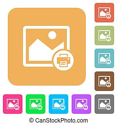 Print image rounded square flat icons