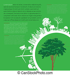 Print - infographics Green modern city living concept. and...