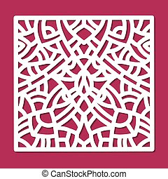 Laser cut vector ornament square panel. Cutout pattern silhouette with abstract shapes. Die cut element for wedding invitations, save the date, greeting card. Cutting template for paper, wood, metal