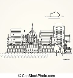 Print - Linear illustration of Budapest, Hungary. Flat one...
