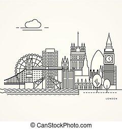 Print - Linear illustration of London, UK. Flat one line...