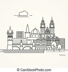 Print - Linear illustration of Prague, Czech Republic. Flat...