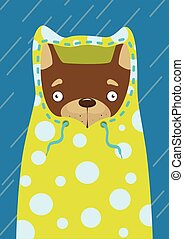 Print Little dog in a raincoat in the rain