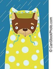 Print Little dog in a raincoat in the rain