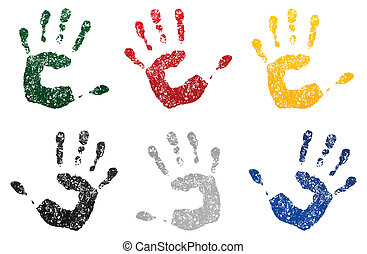 Print of a hand smeared in a paint. A vector illustration
