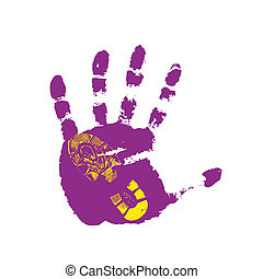Print of a human boot and hand on a white background. Vector