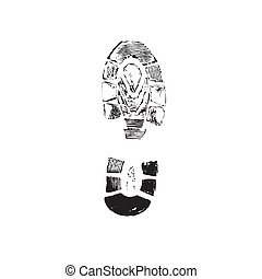 Print of a human boot. Vector - Print of a human boot on a ...