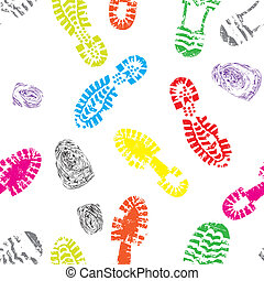 Print of foot shoe of child - Seamless print of foot shoe of...