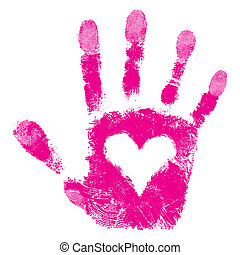 Heart in hand print, people support isolated cute skin texture pattern, love vaentine background, vector grunge illustration.