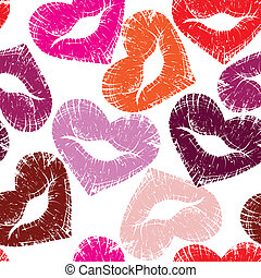 Print of lips, kiss - Print of heart lips, seamless kiss...