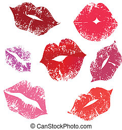 Print of lips, kiss, vector illustration. Element for design