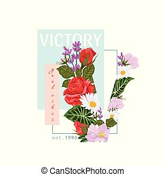 Print on a t-shirt with the word victory and the letter V of flowers and leaves.