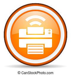 print orange glossy icon on white background