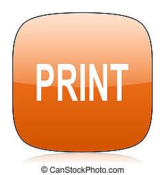 print orange square web design glossy icon