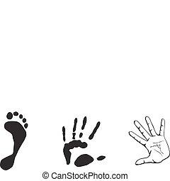 print-out, van, hand, en, voet