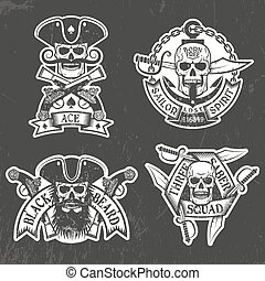 Print - Pirate skull stickers on a black background. Shabby ...