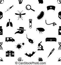 Print - plague and disease theme simple black icons seamless...