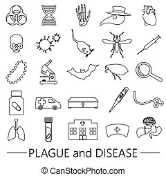 Print - plague and disease theme simple black outline icons...